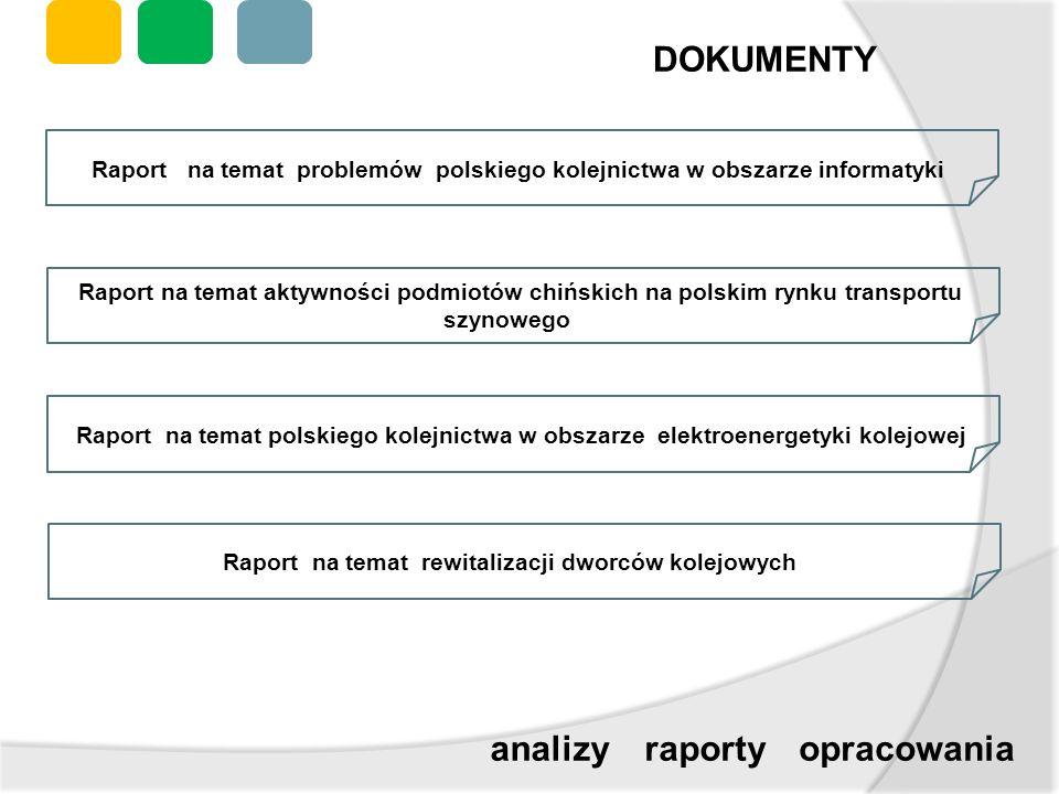 DOKUMENTY raportyanalizyopracowania Raport na temat problemów polskiego kolejnictwa w obszarze informatyki Raport na temat aktywności podmiotów chińsk