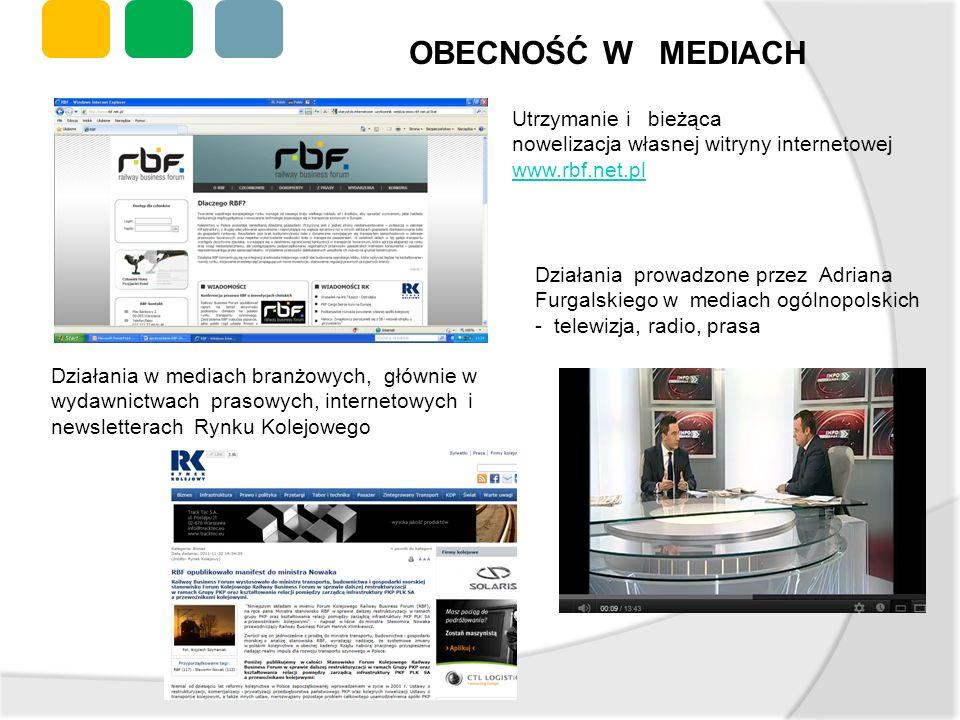 OBECNOŚĆ W MEDIACH Utrzymanie i bieżąca nowelizacja własnej witryny internetowej www.rbf.net.pl www.rbf.net.pl Działania w mediach branżowych, głównie
