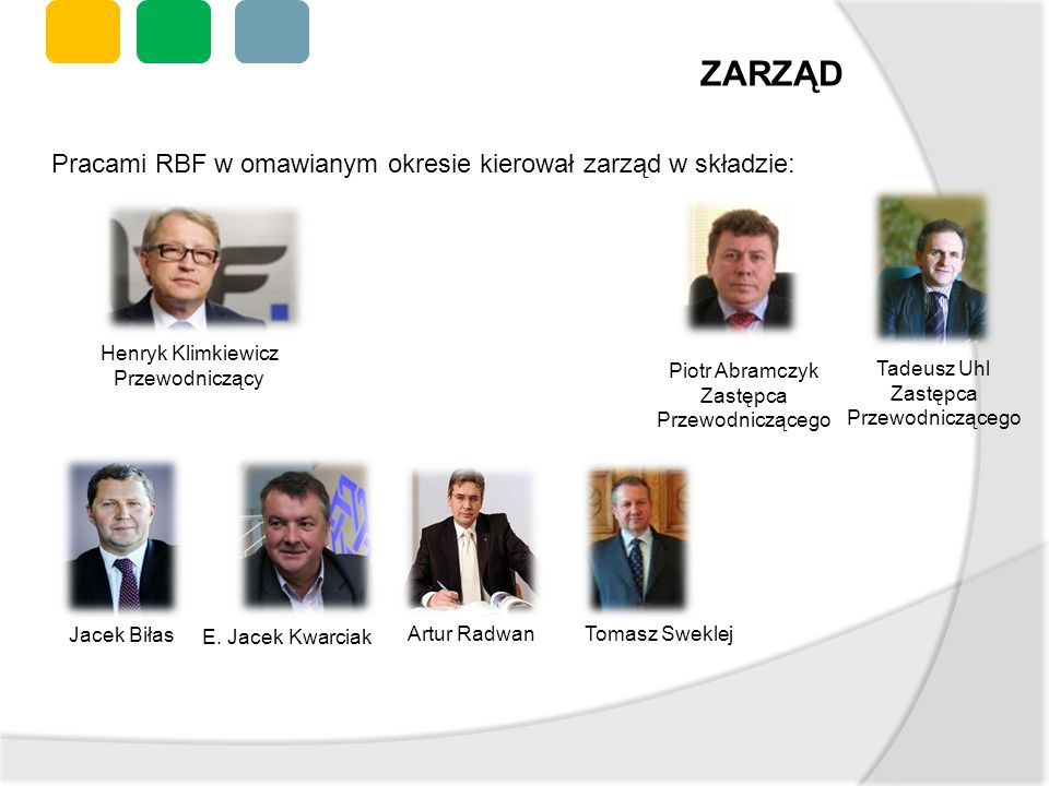 Pracami RBF w omawianym okresie kierował zarząd w składzie: Piotr Abramczyk Zastępca Przewodniczącego Henryk Klimkiewicz Przewodniczący Tadeusz Uhl Za