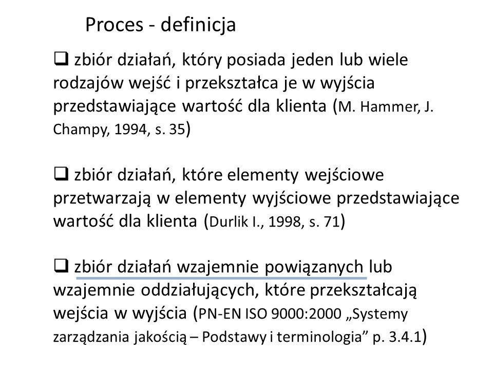 zbiór działań, który posiada jeden lub wiele rodzajów wejść i przekształca je w wyjścia przedstawiające wartość dla klienta ( M. Hammer, J. Champy, 19