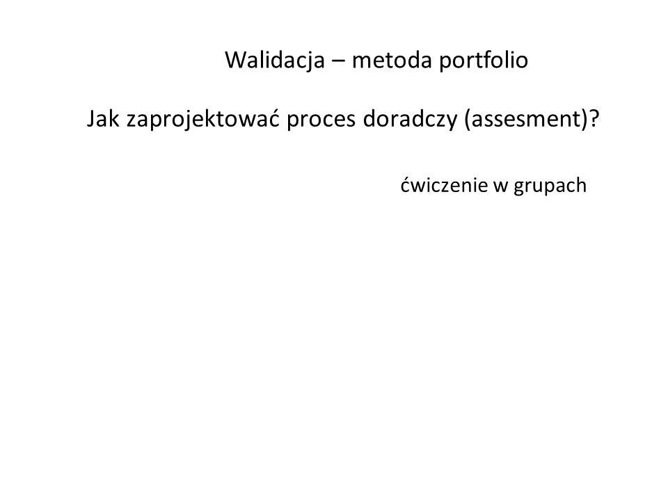Walidacja – metoda portfolio Jak zaprojektować proces doradczy (assesment)? ćwiczenie w grupach