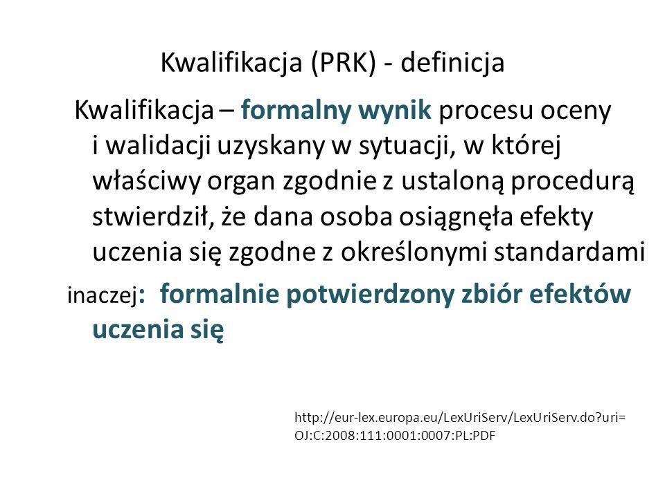 Kwalifikacja (PRK) - definicja Kwalifikacja – formalny wynik procesu oceny i walidacji uzyskany w sytuacji, w której właściwy organ zgodnie z ustaloną