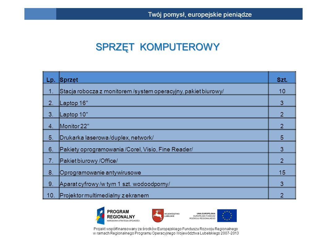 Projekt współfinansowany ze środków Europejskiego Funduszu Rozwoju Regionalnego w ramach Regionalnego Programu Operacyjnego Województwa Lubelskiego 2007-2013 Twój pomysł, europejskie pieniądze SPRZĘT KOMPUTEROWY Lp.SprzętSzt.