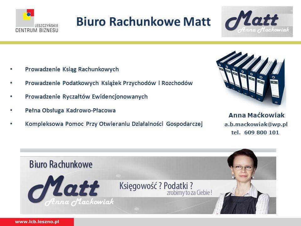 Biuro Rachunkowe Matt Prowadzenie Ksiąg Rachunkowych Prowadzenie Podatkowych Książek Przychodów i Rozchodów Prowadzenie Ryczałtów Ewidencjonowanych Pe