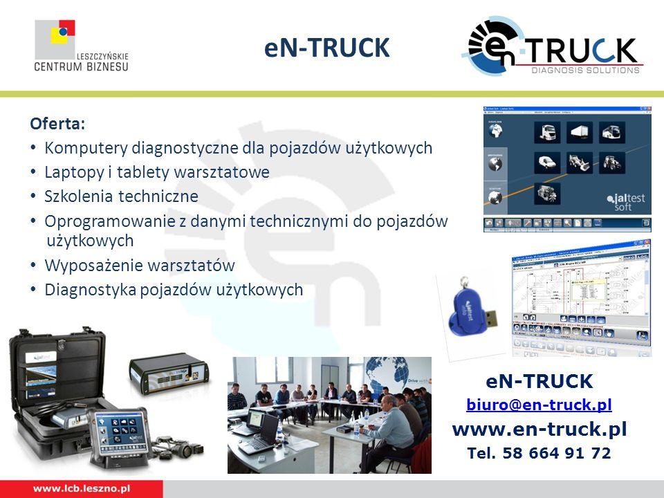 eN-TRUCK Logotyp Oferta: Komputery diagnostyczne dla pojazdów użytkowych Laptopy i tablety warsztatowe Szkolenia techniczne Oprogramowanie z danymi te