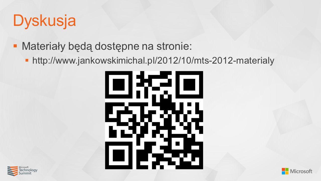 Materiały będą dostępne na stronie: http://www.jankowskimichal.pl/2012/10/mts-2012-materialy Dyskusja