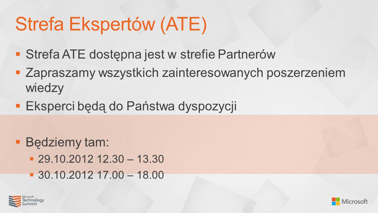 Strefa ATE dostępna jest w strefie Partnerów Zapraszamy wszystkich zainteresowanych poszerzeniem wiedzy Eksperci będą do Państwa dyspozycji Będziemy t