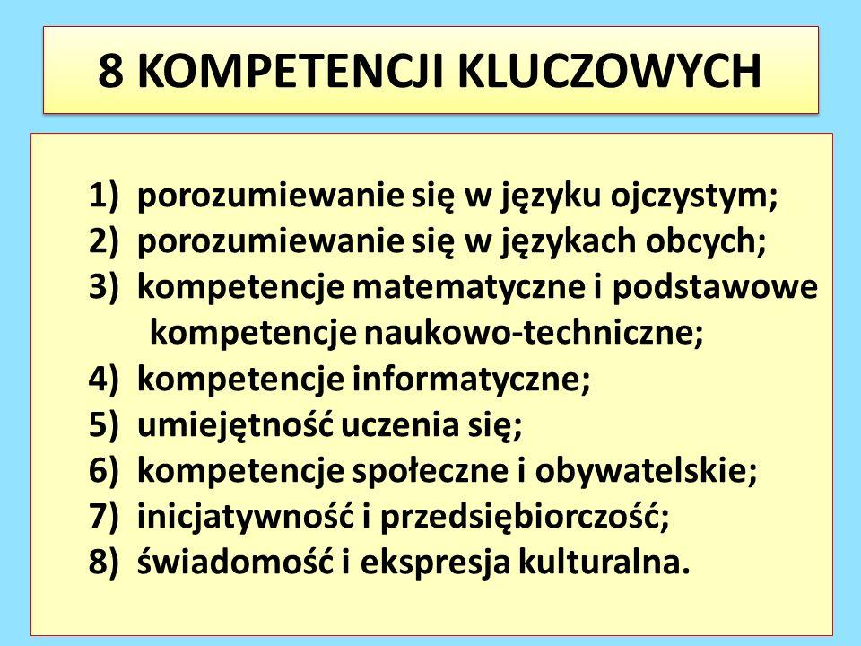 8 KOMPETENCJI KLUCZOWYCH 1) porozumiewanie się w języku ojczystym; 2) porozumiewanie się w językach obcych; 3) kompetencje matematyczne i podstawowe k