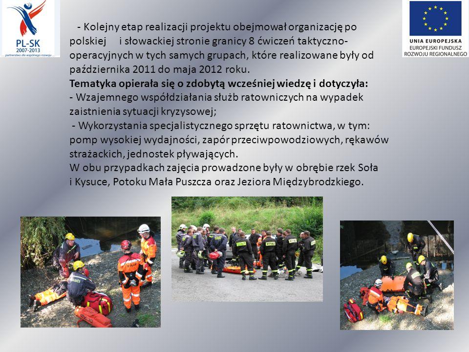 - Kolejny etap realizacji projektu obejmował organizację po polskiej i słowackiej stronie granicy 8 ćwiczeń taktyczno- operacyjnych w tych samych grupach, które realizowane były od października 2011 do maja 2012 roku.