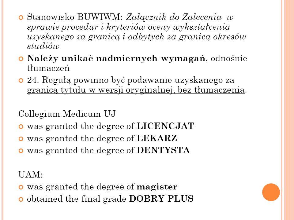 Stanowisko BUWIWM: Załącznik do Zalecenia w sprawie procedur i kryteriów oceny wykształcenia uzyskanego za granicą i odbytych za granicą okresów studi