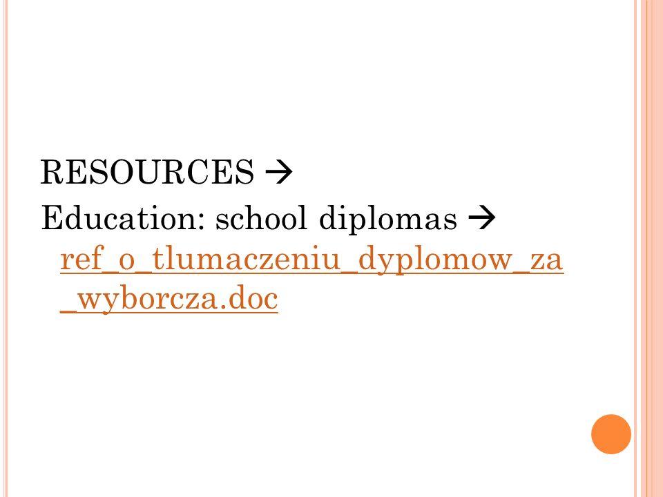 RESOURCES Education: school diplomas ref_o_tlumaczeniu_dyplomow_za _wyborcza.doc ref_o_tlumaczeniu_dyplomow_za _wyborcza.doc