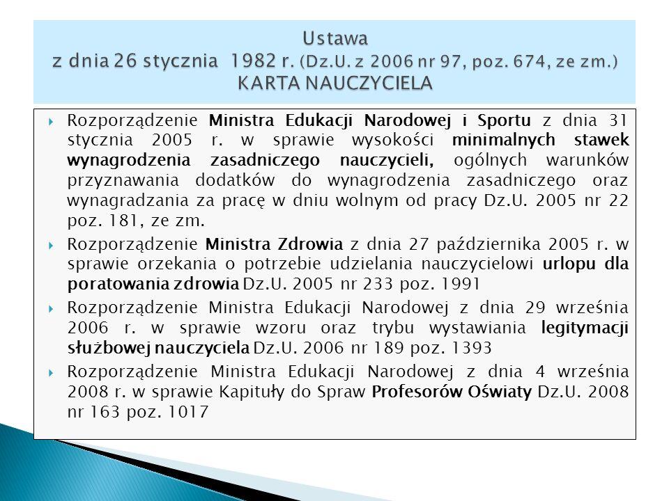 Rozporządzenie Ministra Edukacji Narodowej i Sportu z dnia 31 stycznia 2005 r. w sprawie wysokości minimalnych stawek wynagrodzenia zasadniczego naucz