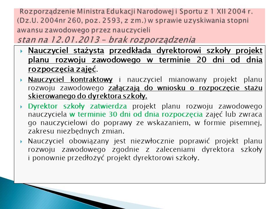 Nauczyciel stażysta przedkłada dyrektorowi szkoły projekt planu rozwoju zawodowego w terminie 20 dni od dnia rozpoczęcia zajęć. Nauczyciel kontraktowy