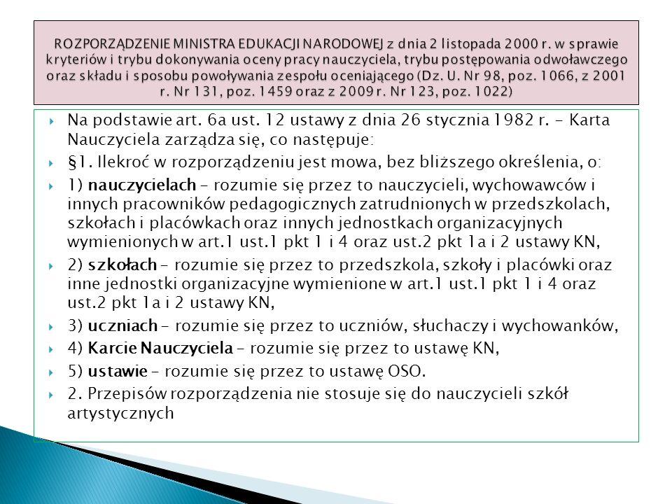 Na podstawie art. 6a ust. 12 ustawy z dnia 26 stycznia 1982 r. - Karta Nauczyciela zarządza się, co następuje: §1. Ilekroć w rozporządzeniu jest mowa,