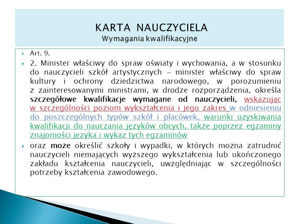 Art. 9. 2. Minister właściwy do spraw oświaty i wychowania, a w stosunku do nauczycieli szkół artystycznych - minister właściwy do spraw kultury i och
