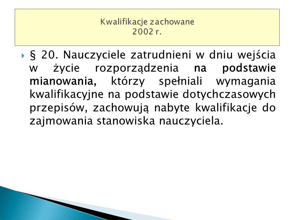 § 20. Nauczyciele zatrudnieni w dniu wejścia w życie rozporządzenia na podstawie mianowania, którzy spełniali wymagania kwalifikacyjne na podstawie do