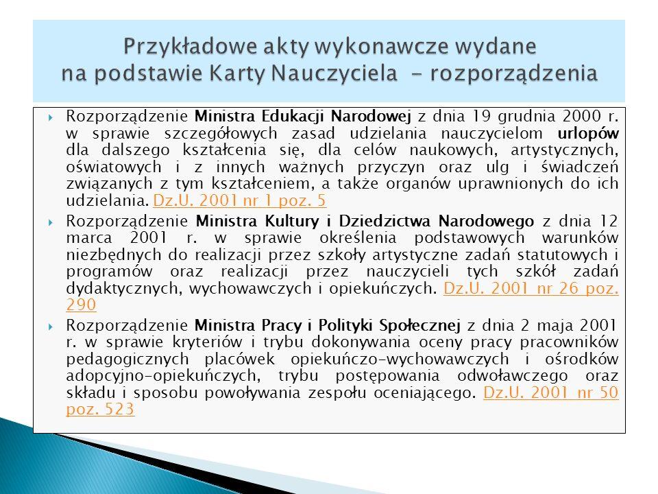 Rozporządzenie Ministra Edukacji Narodowej z dnia 19 grudnia 2000 r. w sprawie szczegółowych zasad udzielania nauczycielom urlopów dla dalszego kształ