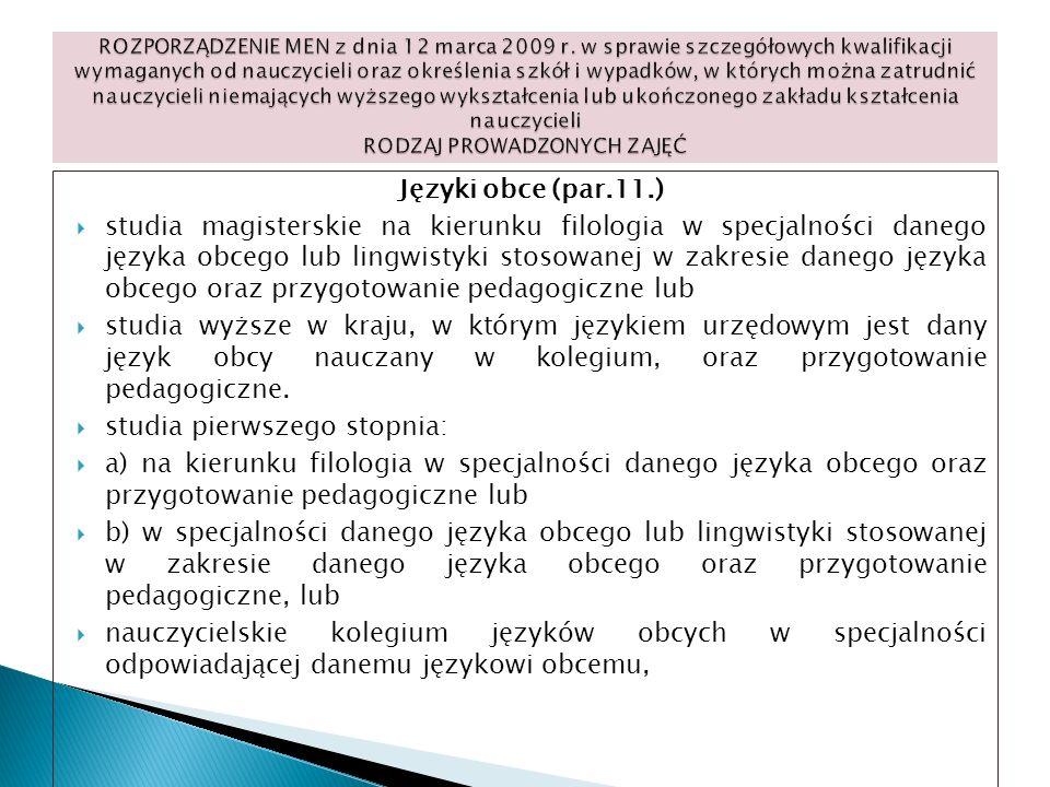 Języki obce (par.11.) studia magisterskie na kierunku filologia w specjalności danego języka obcego lub lingwistyki stosowanej w zakresie danego język