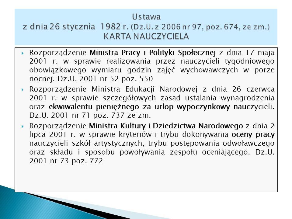 Rozporządzenie Ministra Pracy i Polityki Społecznej z dnia 17 maja 2001 r. w sprawie realizowania przez nauczycieli tygodniowego obowiązkowego wymiaru