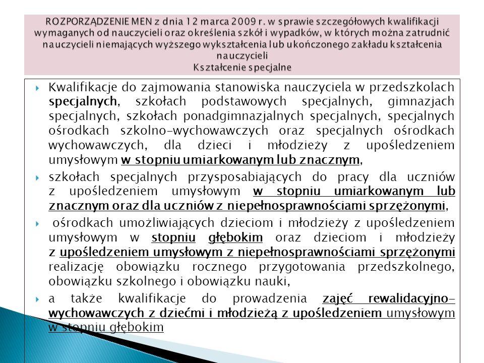 Kwalifikacje do zajmowania stanowiska nauczyciela w przedszkolach specjalnych, szkołach podstawowych specjalnych, gimnazjach specjalnych, szkołach pon
