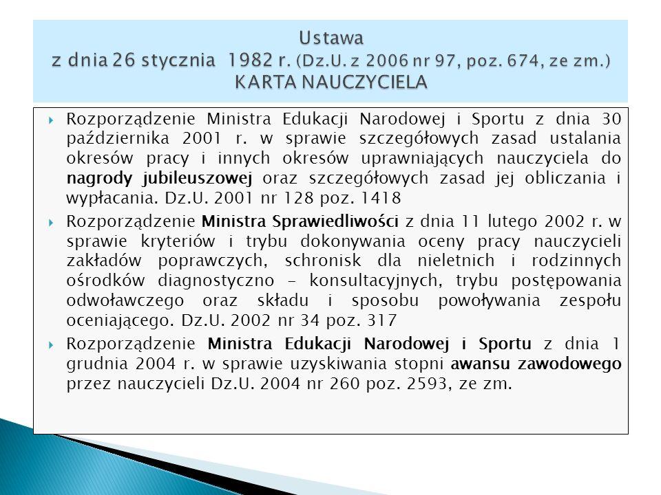 Rozporządzenie Ministra Edukacji Narodowej i Sportu z dnia 30 października 2001 r. w sprawie szczegółowych zasad ustalania okresów pracy i innych okre