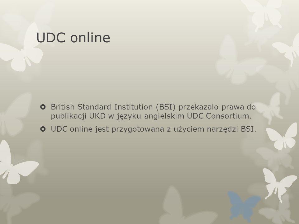 UDC online British Standard Institution (BSI) przekazało prawa do publikacji UKD w języku angielskim UDC Consortium.