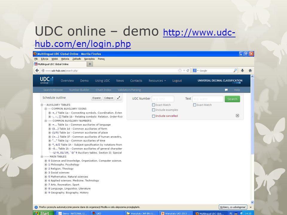 UDC online – demo http://www.udc- hub.com/en/login.php http://www.udc- hub.com/en/login.php