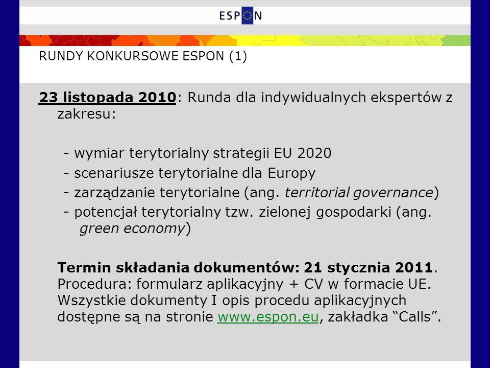 RUNDY KONKURSOWE ESPON (1) 23 listopada 2010: Runda dla indywidualnych ekspertów z zakresu: - wymiar terytorialny strategii EU 2020 - scenariusze terytorialne dla Europy - zarządzanie terytorialne (ang.