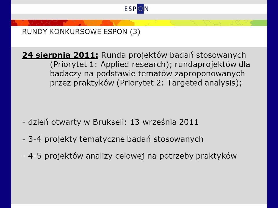 RUNDY KONKURSOWE ESPON (3) 24 sierpnia 2011: Runda projektów badań stosowanych (Priorytet 1: Applied research); rundaprojektów dla badaczy na podstawie tematów zaproponowanych przez praktyków (Priorytet 2: Targeted analysis); - dzień otwarty w Brukseli: 13 września 2011 - 3-4 projekty tematyczne badań stosowanych - 4-5 projektów analizy celowej na potrzeby praktyków
