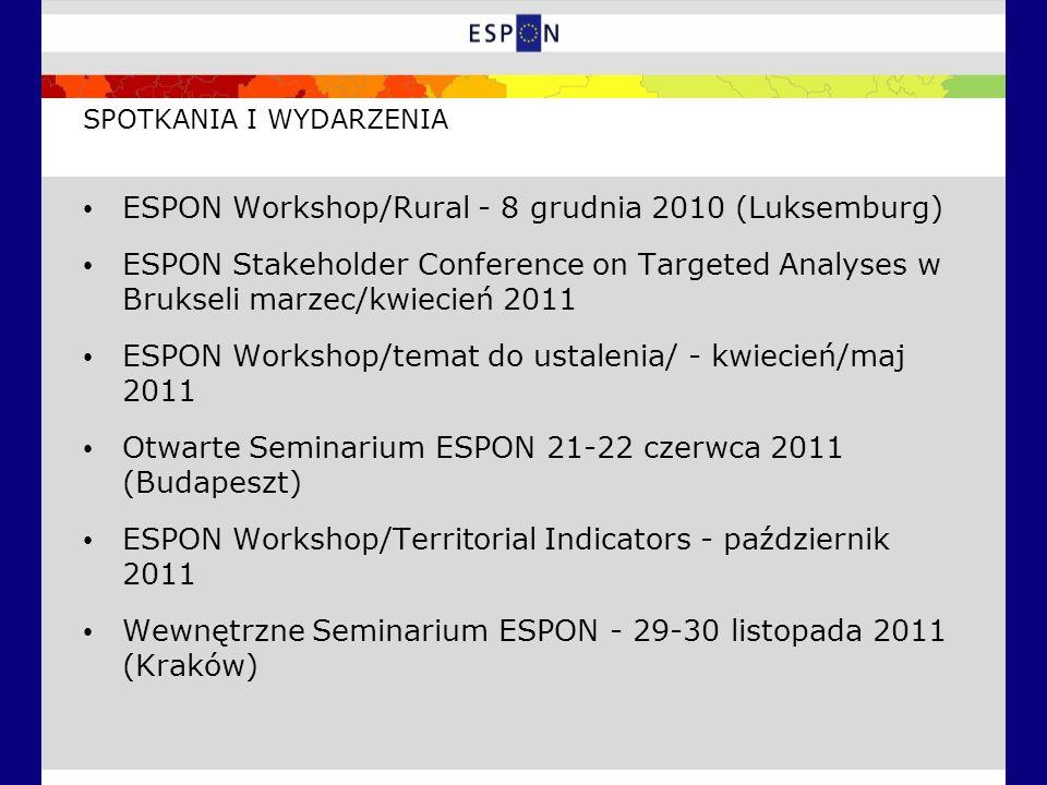 SPOTKANIA I WYDARZENIA ESPON Workshop/Rural - 8 grudnia 2010 (Luksemburg) ESPON Stakeholder Conference on Targeted Analyses w Brukseli marzec/kwiecień 2011 ESPON Workshop/temat do ustalenia/ - kwiecień/maj 2011 Otwarte Seminarium ESPON 21-22 czerwca 2011 (Budapeszt) ESPON Workshop/Territorial Indicators - październik 2011 Wewnętrzne Seminarium ESPON - 29-30 listopada 2011 (Kraków)