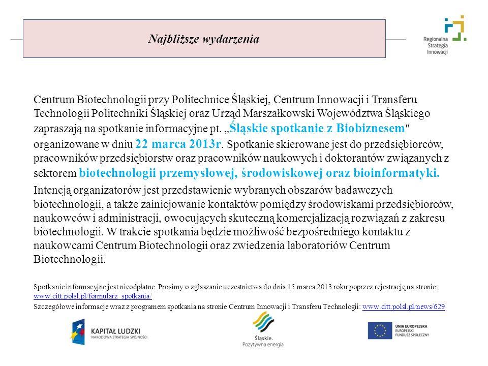 Najbliższe wydarzenia Centrum Biotechnologii przy Politechnice Śląskiej, Centrum Innowacji i Transferu Technologii Politechniki Śląskiej oraz Urząd Ma