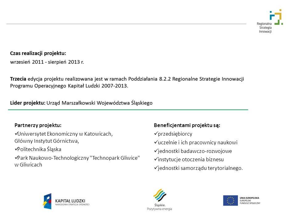 Partnerzy projektu: Uniwersytet Ekonomiczny w Katowicach, Główny Instytut Górnictwa, Politechnika Śląska Park Naukowo-Technologiczny