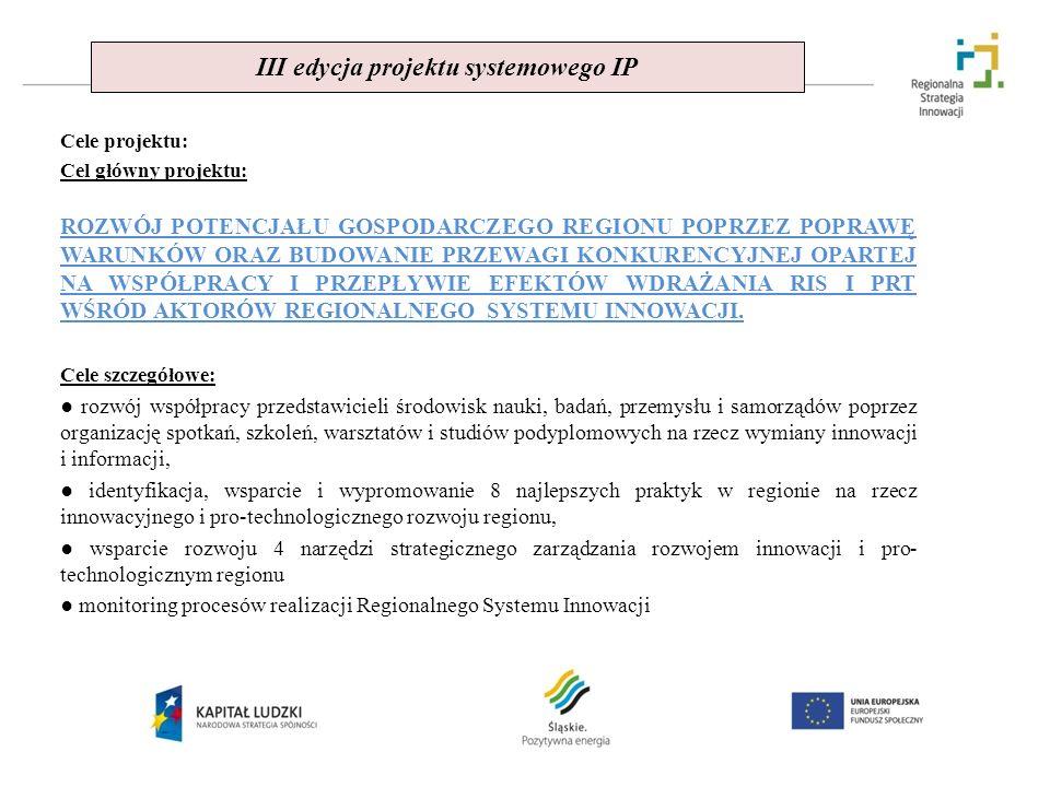 III edycja projektu systemowego IP Cele projektu: Cel główny projektu: ROZWÓJ POTENCJAŁU GOSPODARCZEGO REGIONU POPRZEZ POPRAWĘ WARUNKÓW ORAZ BUDOWANIE