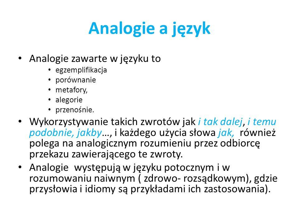 Analogie a język Analogie zawarte w języku to egzemplifikacja porównanie metafory, alegorie przenośnie. Wykorzystywanie takich zwrotów jak i tak dalej