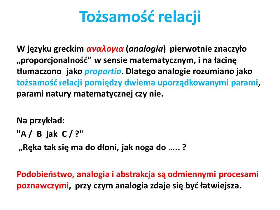 Tożsamość relacji W języku greckim αναλογια (analogia) pierwotnie znaczyło proporcjonalność w sensie matematycznym, i na łacinę tłumaczono jako propor
