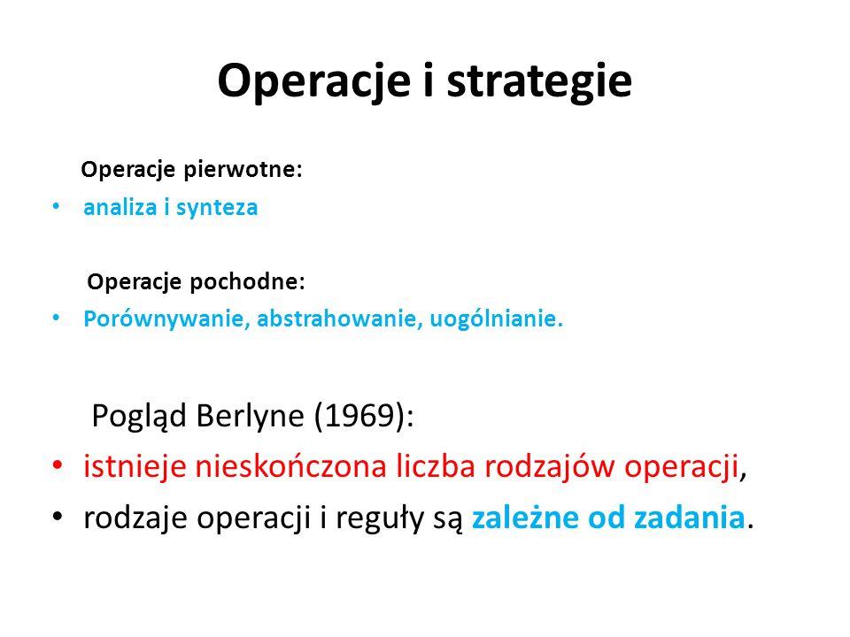 Operacje i strategie Operacje pierwotne: analiza i synteza Operacje pochodne: Porównywanie, abstrahowanie, uogólnianie. Pogląd Berlyne (1969): istniej