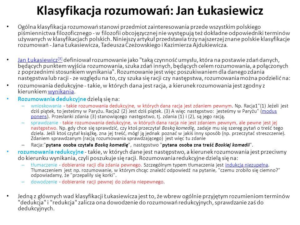 Klasyfikacja rozumowań: Jan Łukasiewicz Ogólna klasyfikacja rozumowań stanowi przedmiot zainteresowania przede wszystkim polskiego piśmiennictwa filoz