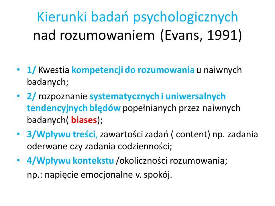 Kierunki badań psychologicznych nad rozumowaniem (Evans, 1991) 1/ Kwestia kompetencji do rozumowania u naiwnych badanych; 2/ rozpoznanie systematyczny