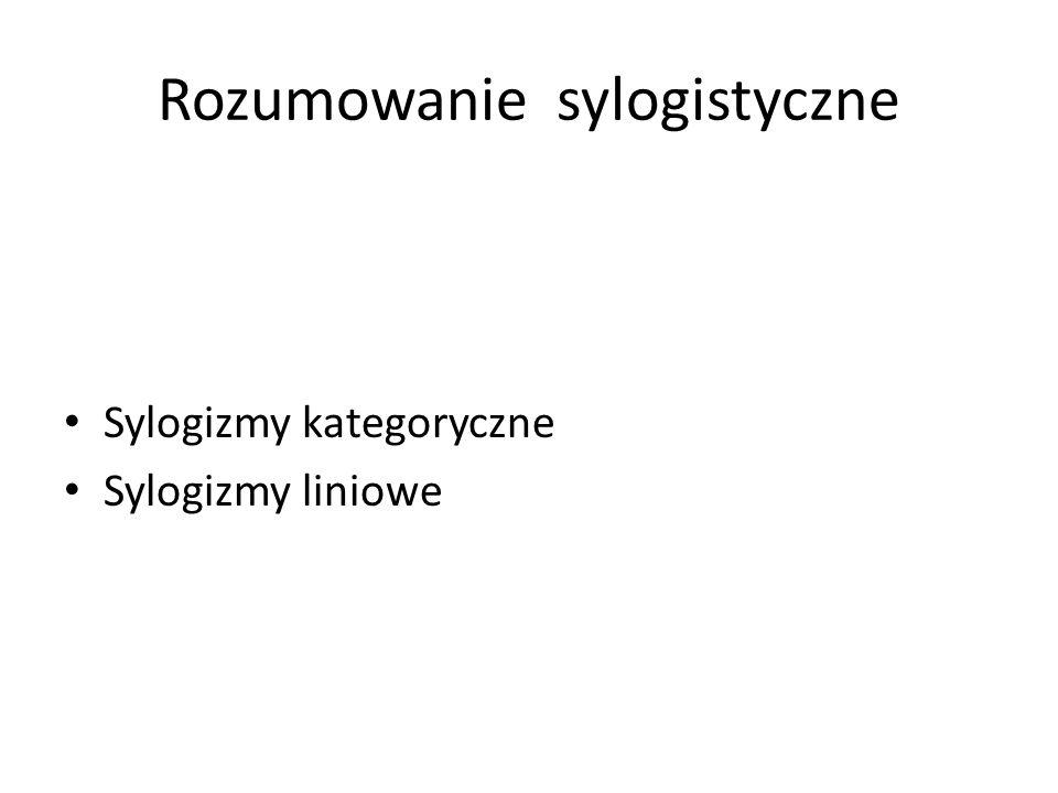 Rozumowanie sylogistyczne Sylogizmy kategoryczne Sylogizmy liniowe