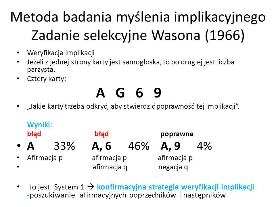 Metoda badania myślenia implikacyjnego Zadanie selekcyjne Wasona (1966) Weryfikacja implikacji Jeżeli z jednej strony karty jest samogłoska, to po dru