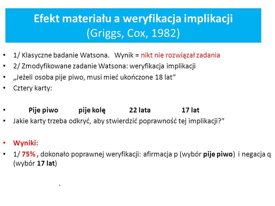 Efekt materiału a weryfikacja implikacji (Griggs, Cox, 1982) 1/ Klasyczne badanie Watsona. Wynik = nikt nie rozwiązał zadania 2/ Zmodyfikowane zadanie