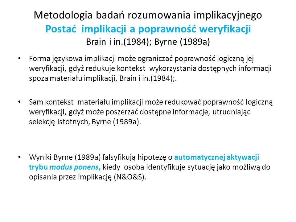Metodologia badań rozumowania implikacyjnego Postać implikacji a poprawność weryfikacji Brain i in.(1984); Byrne (1989a) Forma językowa implikacji moż