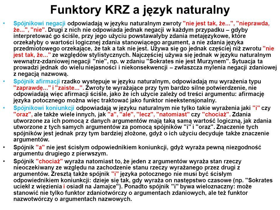 Funktory KRZ a język naturalny Spójnikowi negacji odpowiadają w języku naturalnym zwroty