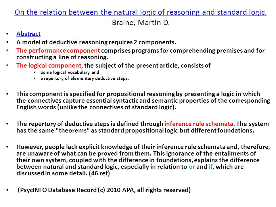 On the relation between the natural logic of reasoning and standard logic. On the relation between the natural logic of reasoning and standard logic.