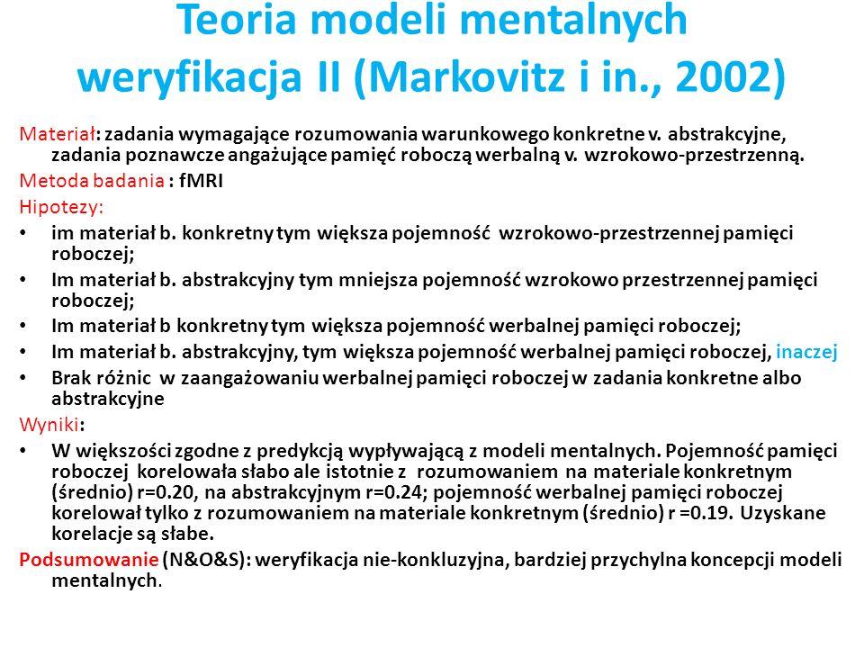 Teoria modeli mentalnych weryfikacja II (Markovitz i in., 2002) Materiał: zadania wymagające rozumowania warunkowego konkretne v. abstrakcyjne, zadani