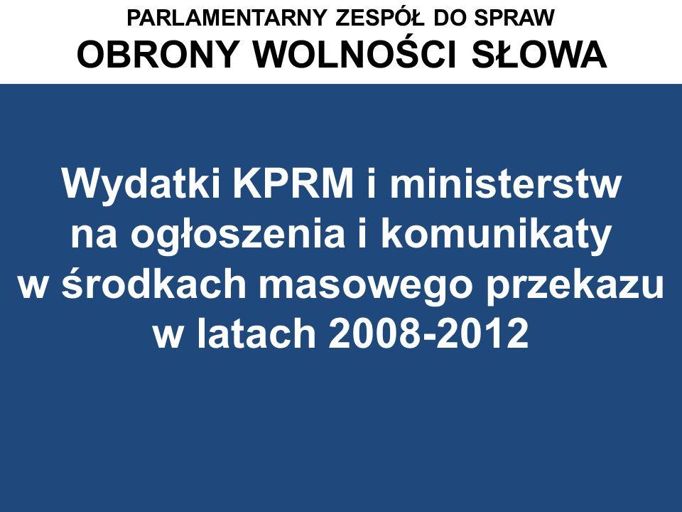 Wydatki wszystkich resortów na ogłoszenia i komunikaty w wybranych tygodnikach opinii o zasięgu ogólnokrajowym w latach 2008-2012 PARLAMENTARNY ZESPÓŁ DS.