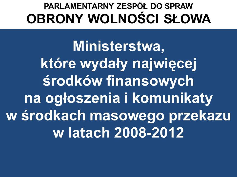Ministerstwa, które wydały najwięcej środków finansowych na ogłoszenia i komunikaty w środkach masowego przekazu w latach 2008-2012 PARLAMENTARNY ZESP