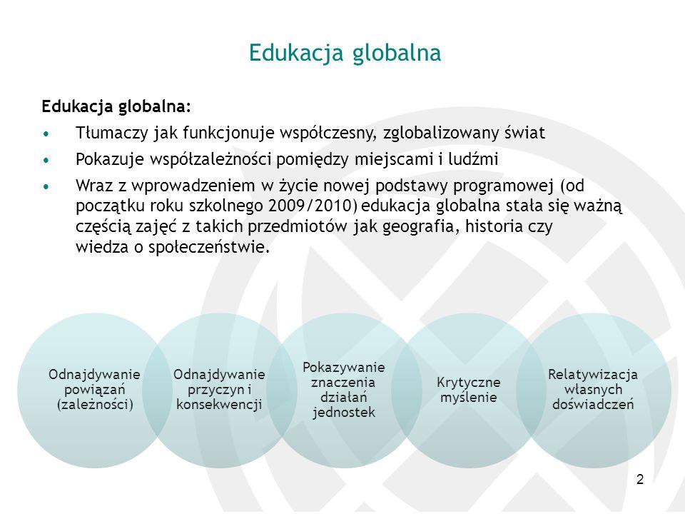 Edukacja globalna Edukacja globalna: Tłumaczy jak funkcjonuje współczesny, zglobalizowany świat Pokazuje współzależności pomiędzy miejscami i ludźmi W