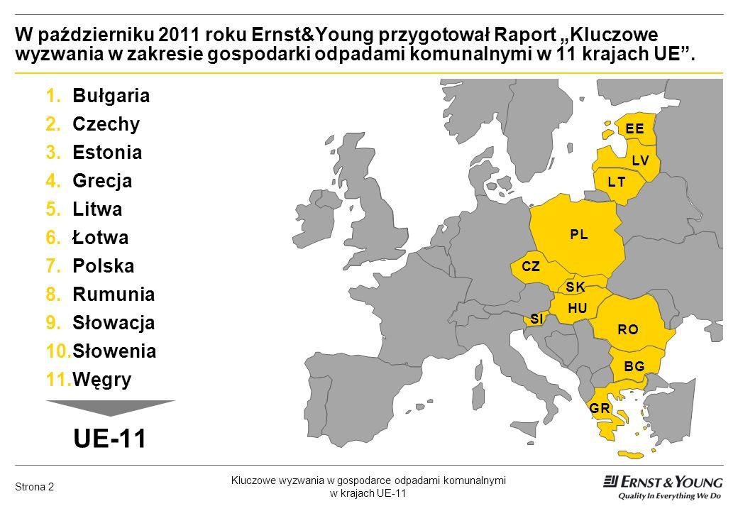 Kluczowe wyzwania w gospodarce odpadami komunalnymi w krajach UE-11 Strona 2 W październiku 2011 roku Ernst&Young przygotował Raport Kluczowe wyzwania