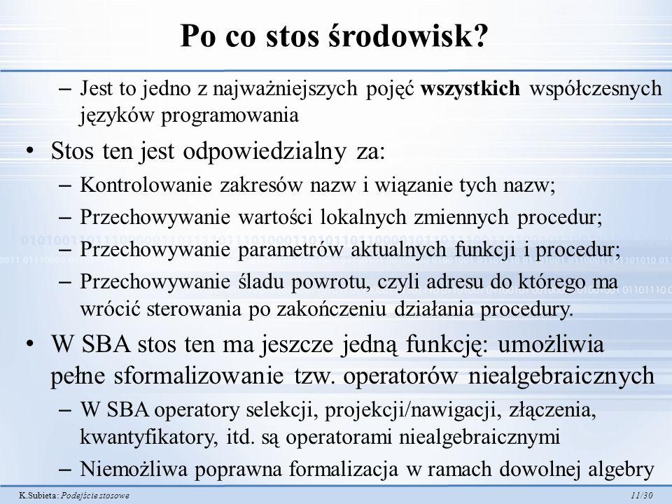 K.Subieta: Podejście stosowe 11/30 Po co stos środowisk? – Jest to jedno z najważniejszych pojęć wszystkich współczesnych języków programowania Stos t